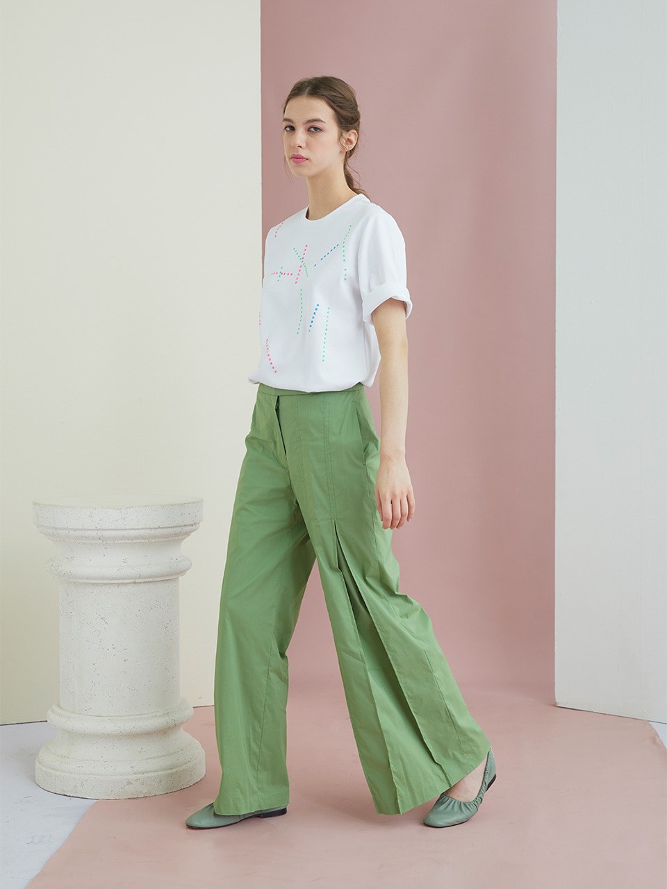 GUKAGREEN WIDE PANTS