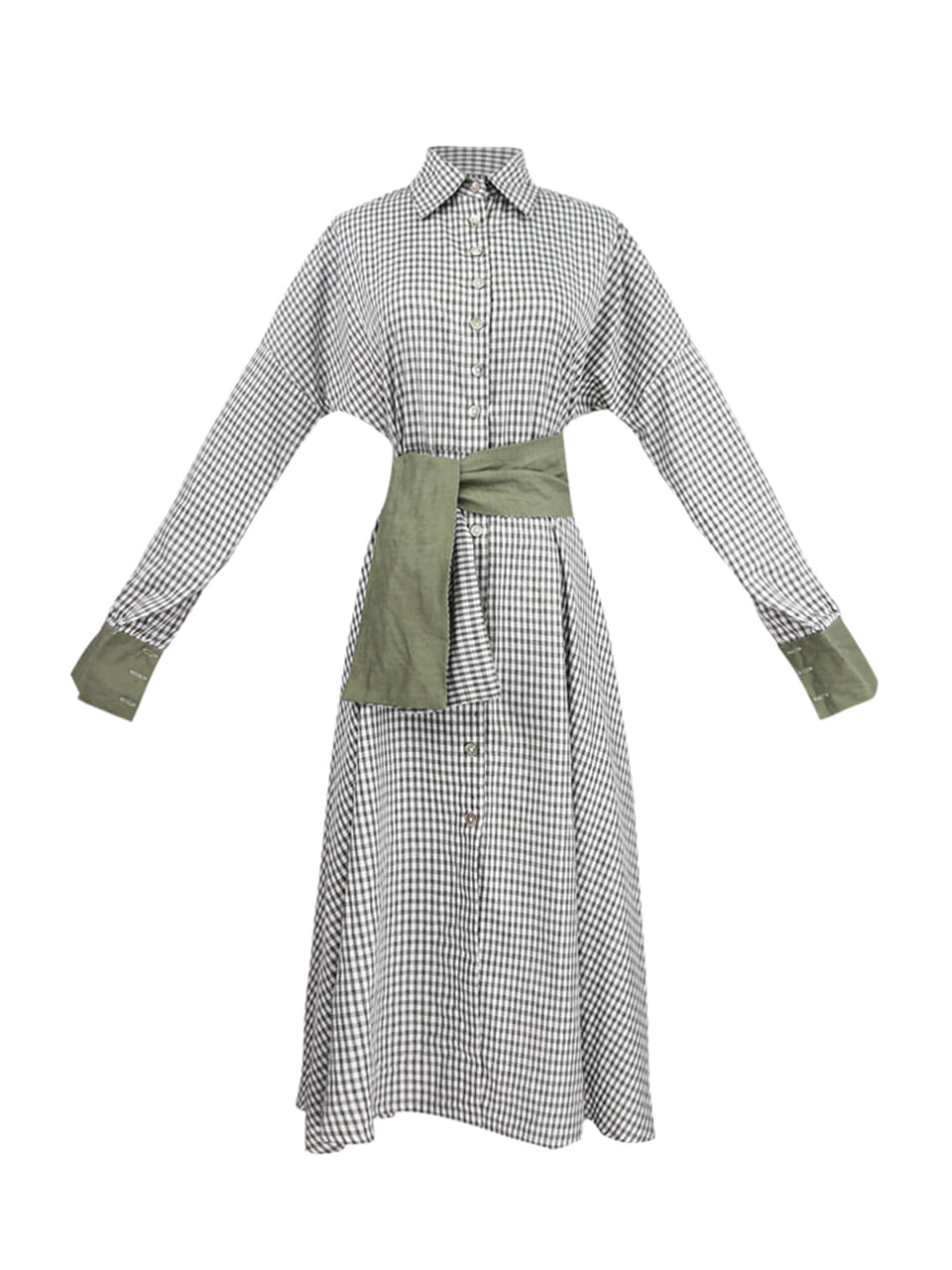 GUKAKara check patten ribbon belt long dress