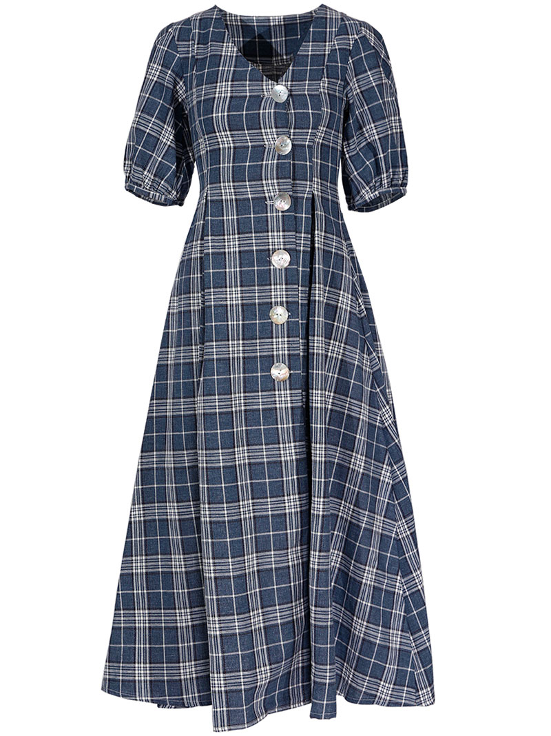 GUKAHole Button Check Dress