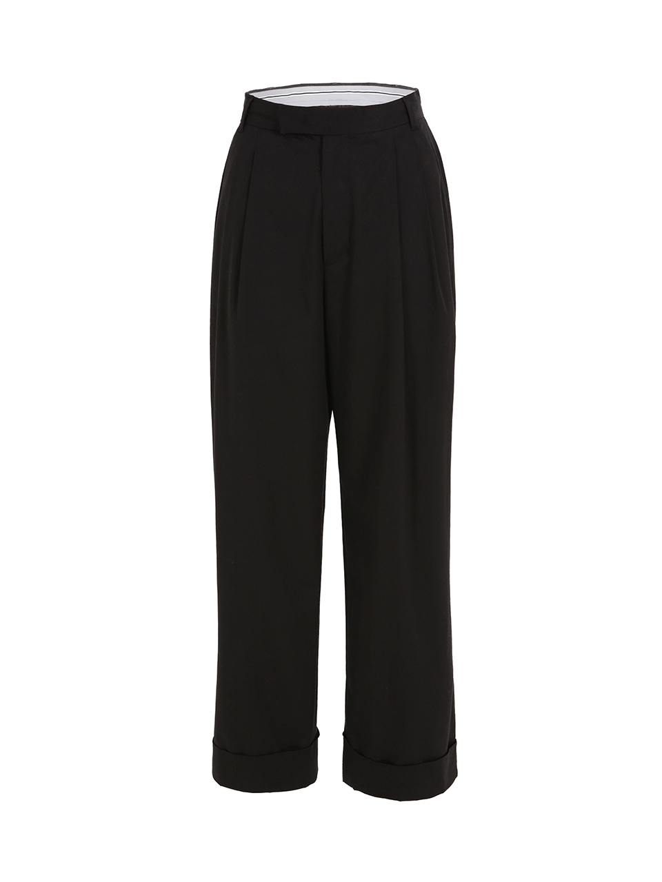 GUKAClassic Cuffed Pants - BLACK